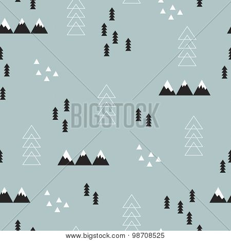 Seamless winter wonderland geometric abstract christmas theme tree mountains and snow illustration scandinavian style background pattern in vector