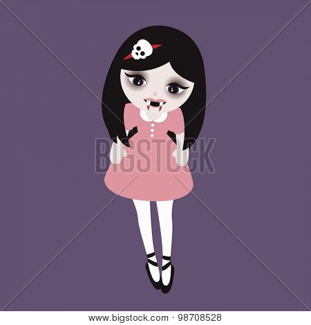 Adorable little vampire girl with blood and fangs in sweet skull fashion kids illustration in vector