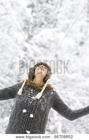 Joyful Woman Enjoying The Winter Snow