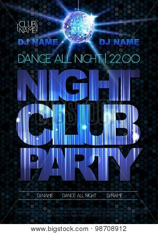 Disco Background. Disco Poster. Night Club Party