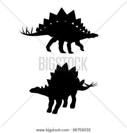Stegosaurus dinosaur vector silhouettes.