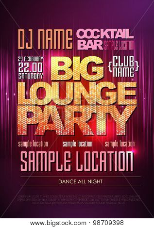 Typography Disco Background. Disco Poster Big Lounge Party