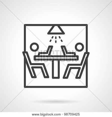 Black line vector icon for teamwork