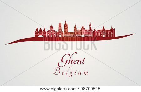 Ghent Skyline In Red