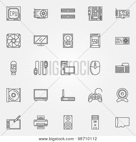 Computer components icons set