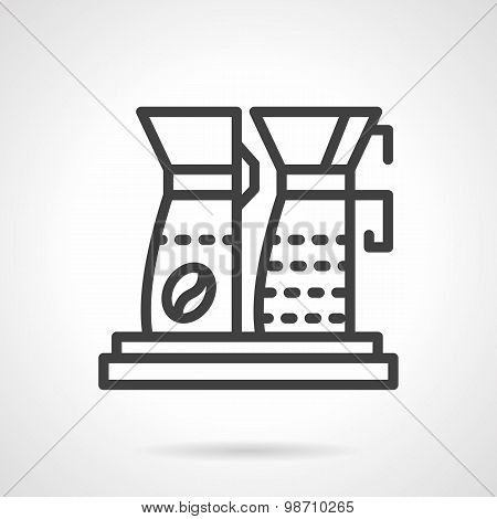 Simple line coffee machine vector icon