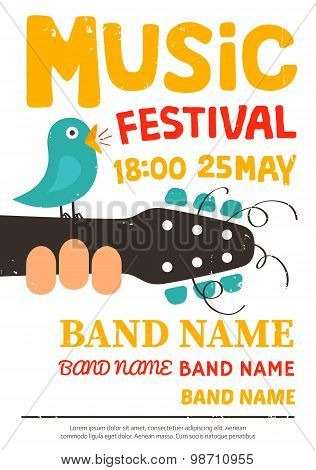Acoustic Music Festival Poster, Flyer With A Bird Singing On A Guitar. Vector Illustration