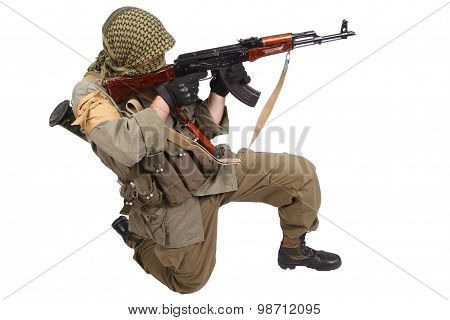 Insurgent Wearing Keffiyeh With Ak 47 Gun