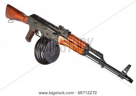 Akm Kalashnikov Assault Rifle With 75 Round Drum Magazine