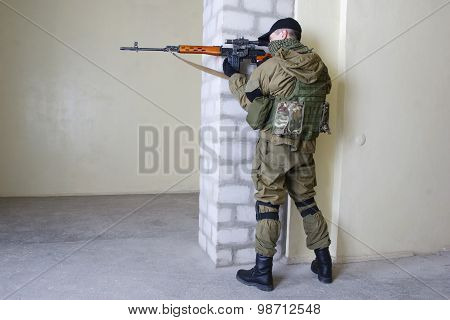 Mercenary Sniper With Sniper Rifle