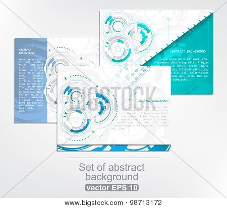Set of 3 gears and circuit board with arrows on abstract vector background