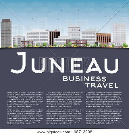 Juneau (Alaska) Skyline with Grey Building and Blue Sky. Business travel concept. Vector Illustration