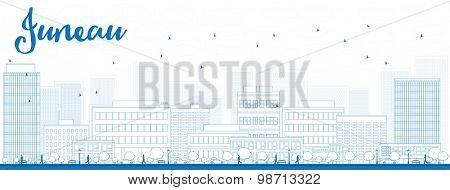 Outline Juneau (Alaska) Skyline with Blue Buildings. Vector Illustration