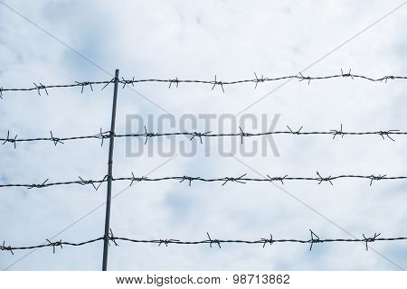 Shallow depth of field, old barbed steel wire against blue sky