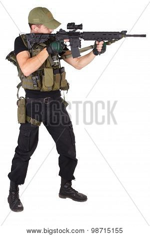 Rifleman With M16 Rifle