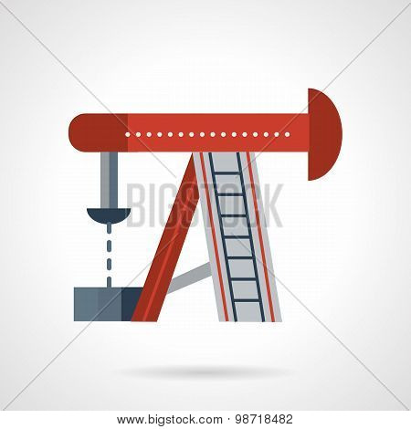 Oil rig flat vector icon