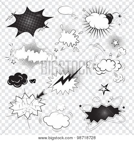 Blank text comic black speech bubbles in pop art style