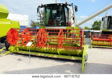 Combine harvester on display