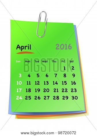 Calendar For April 2016 On Colorful Sticky Notes