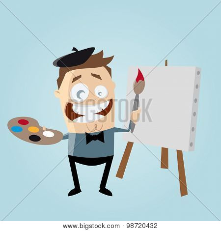 funny cartoon painter with blank canvas