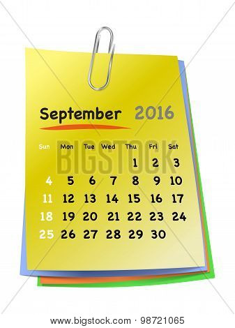 Calendar For September 2016 On Colorful Sticky Notes