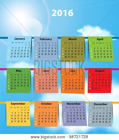 Calendar For 2016 Like Laundry On The Clothesline