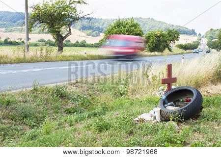 Memorial site a real tragic traffic accident on a country road.