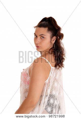 Young Woman In Bikini With Shirt.