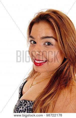 Closeup Portrait Of East Indian Woman.