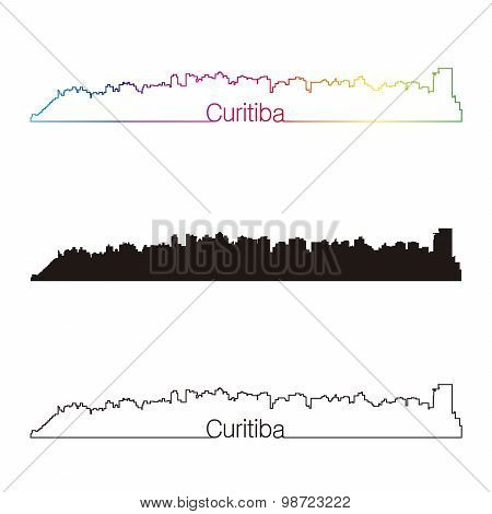 Curitiba Skyline Linear Style With Rainbow