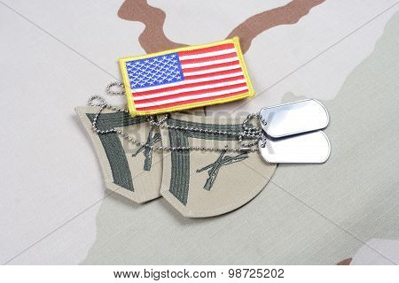 Kiev, Ukraine - May 18, 2015. Us Marines Lance Corporal Rank Patch With Us Flag On Desert Uniform