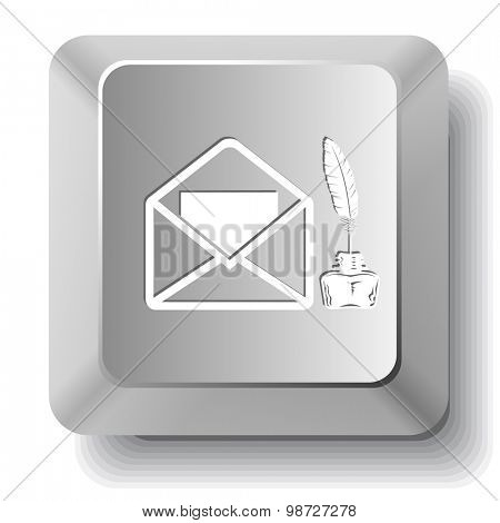 mail with feather and inkstandn. Vector computer key.