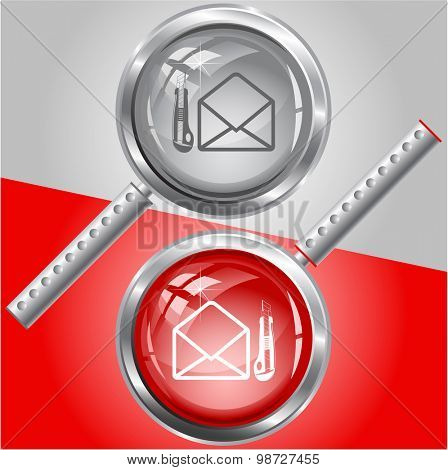 open mail with knife. Vector magnifying glass.