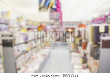 Blurred Abstract Background Of A Bookstore