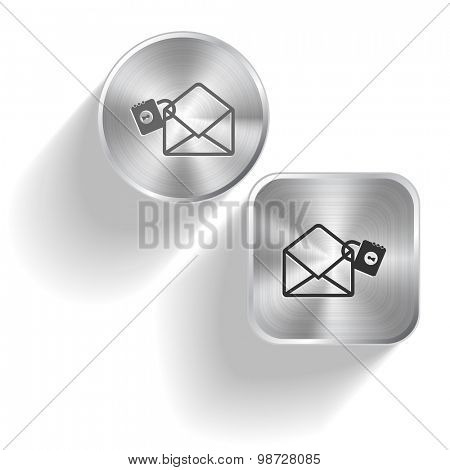 open mail with lock. Vector set steel buttons
