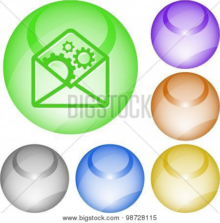 open mail with gears. Vector interface element.