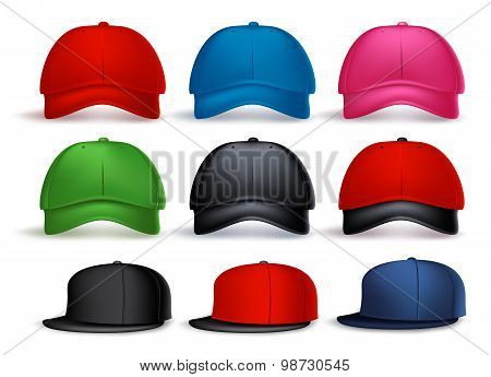 Set of 3D Realistic Baseball Cap for Man and Woman with Variety of Colors