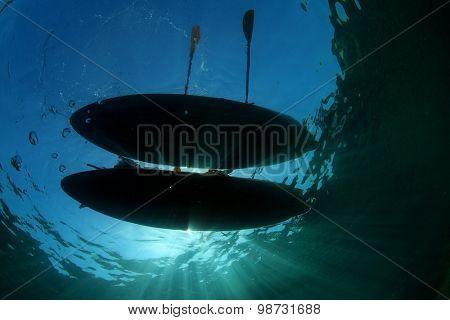 Two Sea Kayaks from underwater