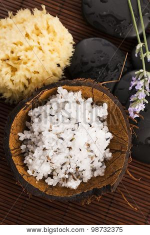 Homemade Skin Exfoliant (skin Scrub) Of Sea Salt, Olive Oil And Lavender Flowers