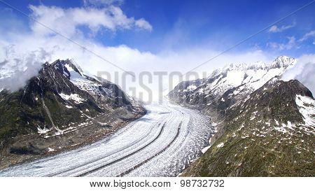 Aletsch glacier, the largest gracier in Alps.
