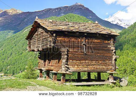 The beautiful  rural landscape with old barn near Zermatt.