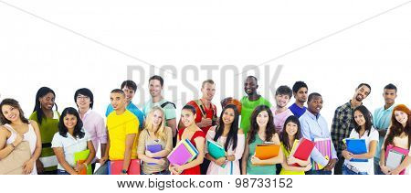 Large group of international students smiling Concept