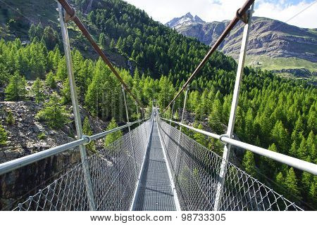 Suspension bridge. Switzerland