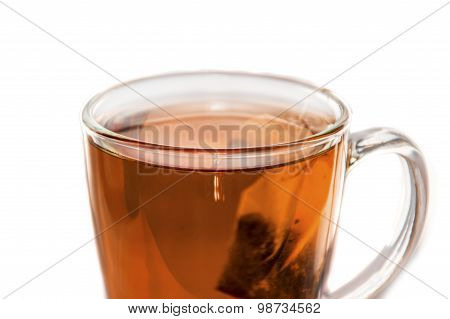 Tea And Tea Bag In A Glass Tea Cup