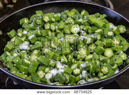 Okra Being Cooked