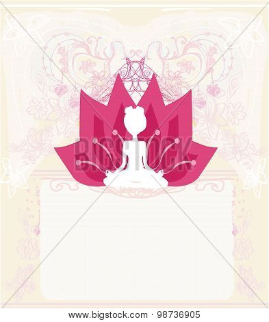 Young Woman Practicing Yoga, Sitting In A Lotus Position - Abstract Background