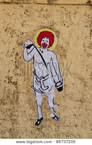Graffiti Art On The Wall In Fort Kochi