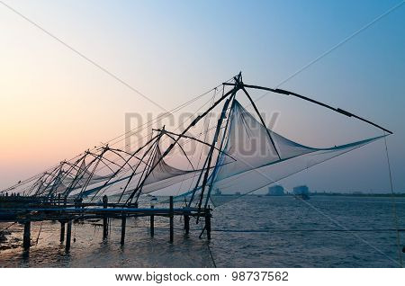 Chinese Fishing Nets At Sunset