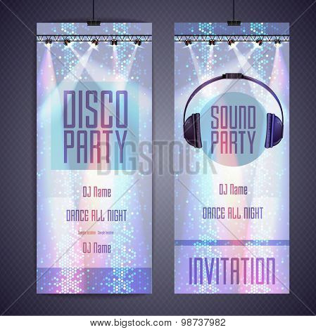 Set Of Disco Background Banners. Disco Party Poster