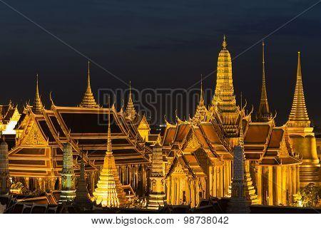 The Emerald Buddha,Grand palace at night in Bangkok